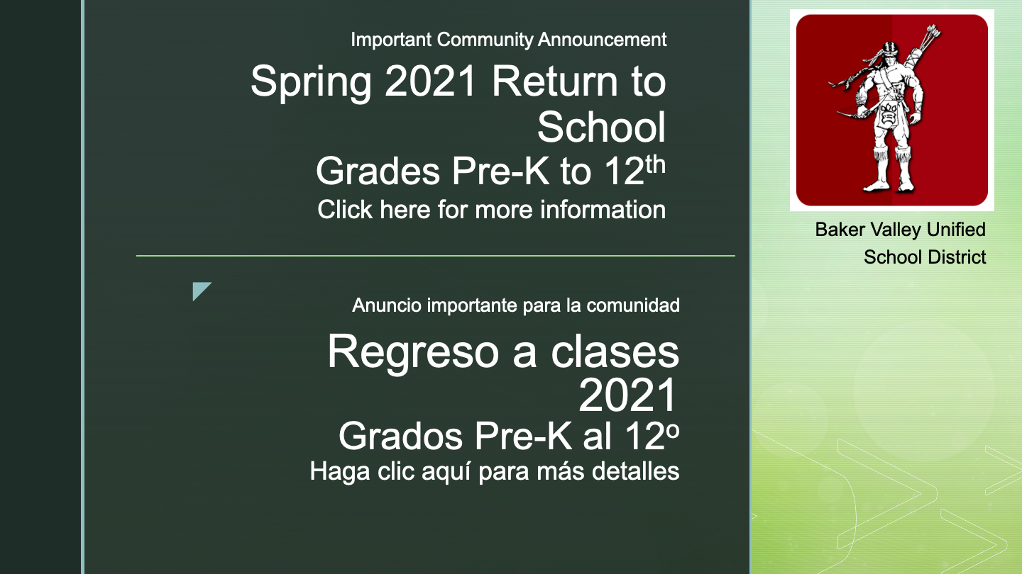 Image announcement regarding the return to school in Spring 2021.